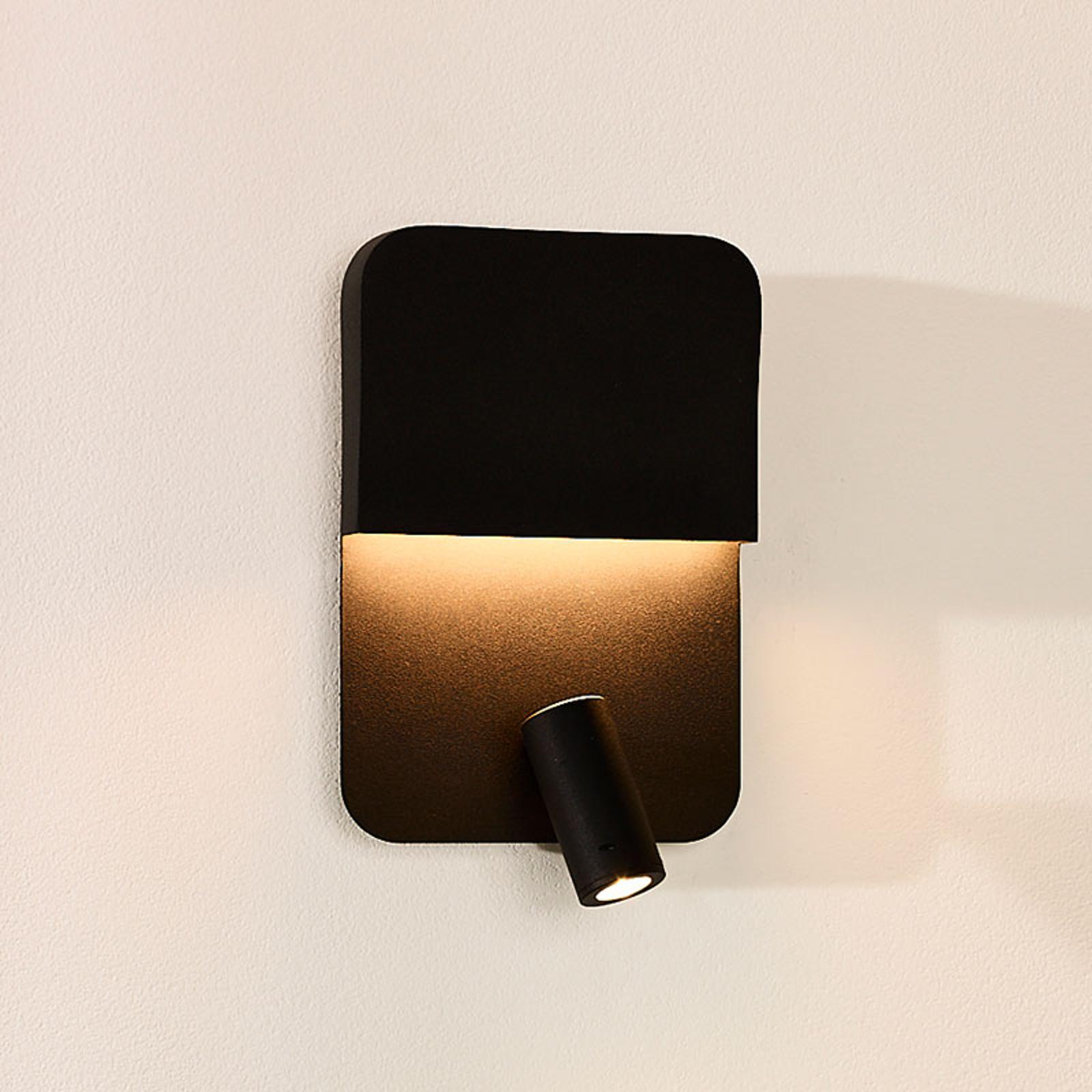 LED-seinävalaisin Boxer spotilla, musta
