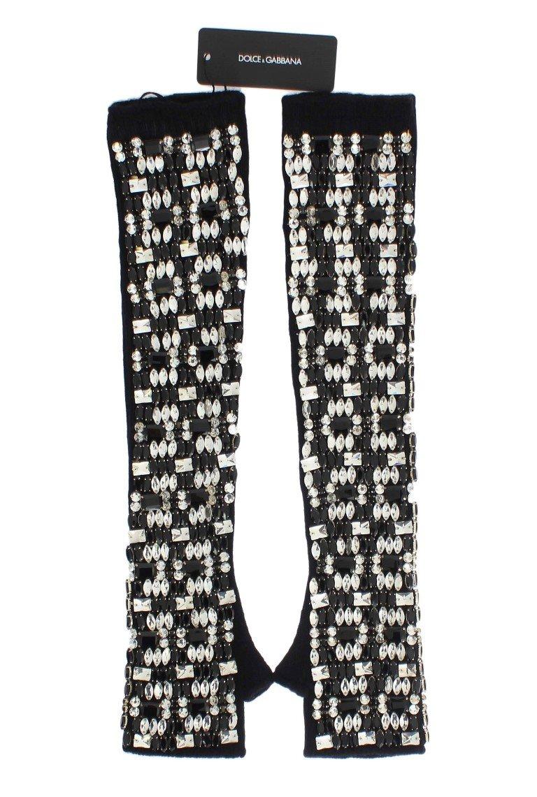Dolce & Gabbana Women's Cashmere Crystal Finger Less Gloves Black LB64 - S