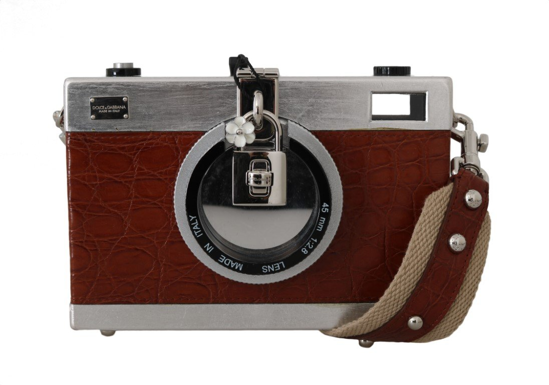 Dolce & Gabbana Women's Camera Case Caiman Wood Clutch Bag Brown VAS15143