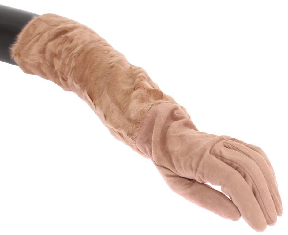 Dolce & Gabbana Women's Suede Xiangao Fur Elbow Gloves Beige LB139 - 8 M