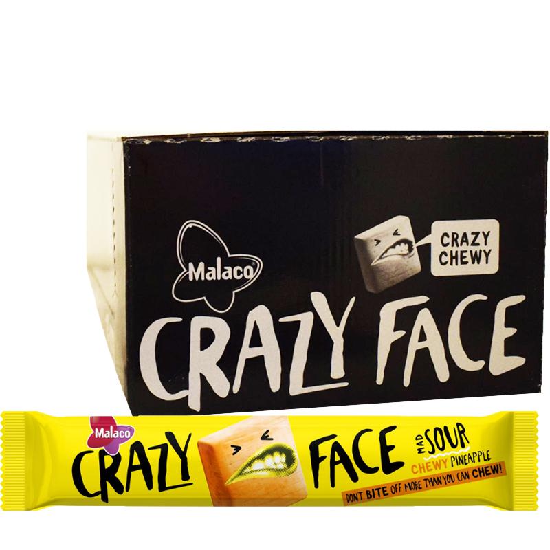"Laatikollinen ""Crazy Face Chewy Pineapple"" Makeisia 24 x 34g - 40% alennus"