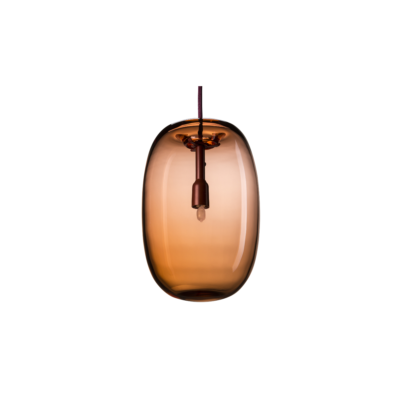 Taklampa PEBBLE Långsträckt oxblod glas, Örsjö belysning