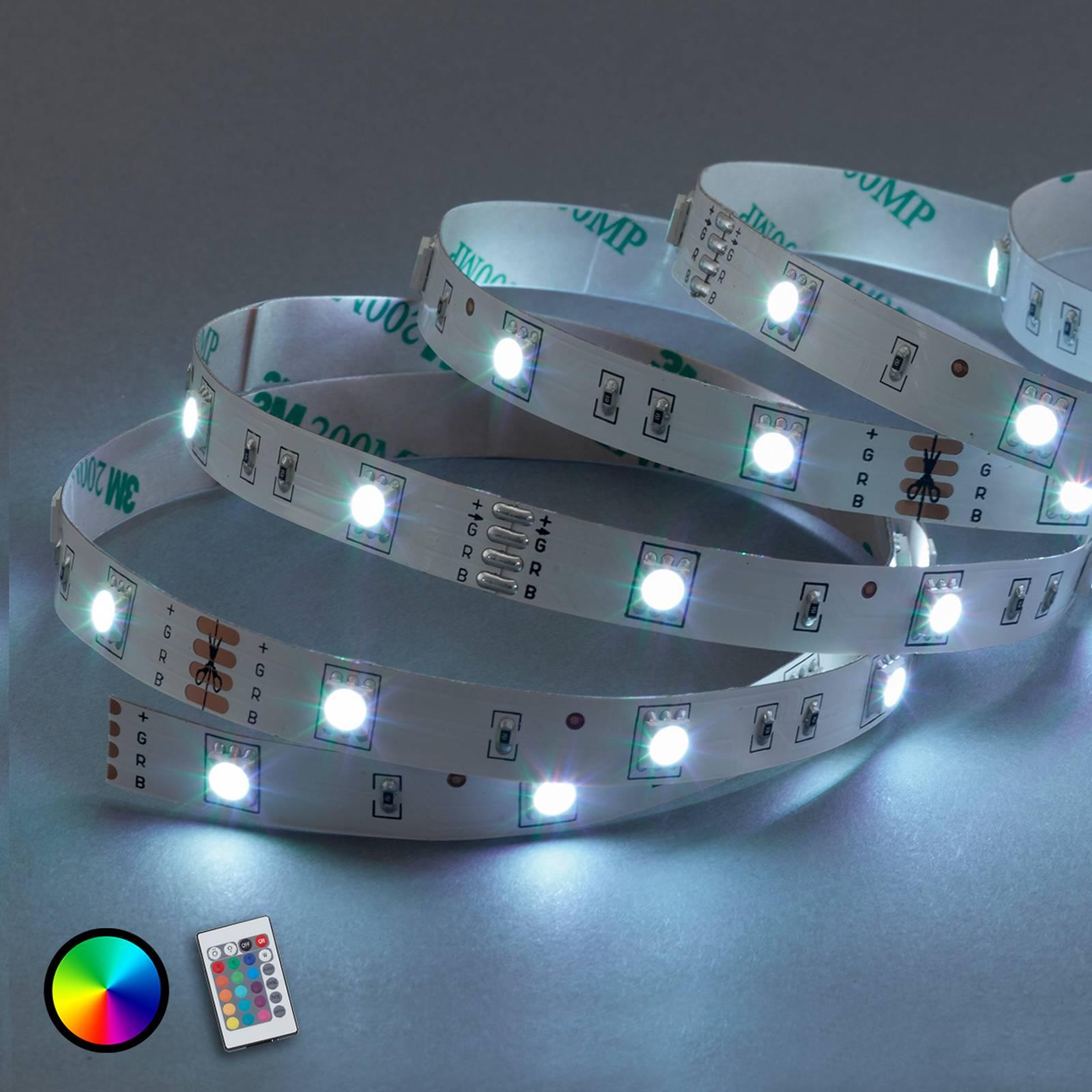 5 m:n RGB-LED-nauha Mea, sis. IR-kaukosäätimen