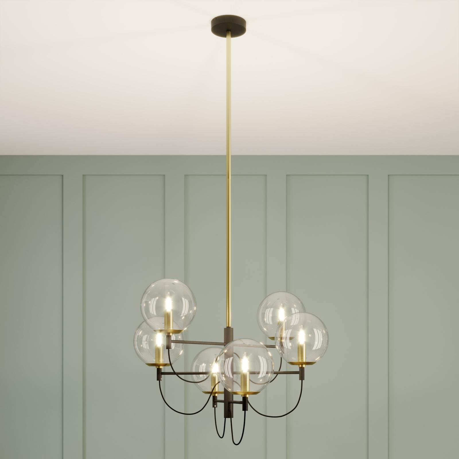 Lucande Sotiana -riippuvalo lasikuulilla, 6-lamp.