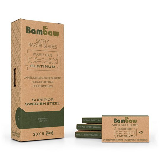 Bambaw Dubbeleggade Rakblad till Säkerhetsrakhyvel, 20 x 5-pack