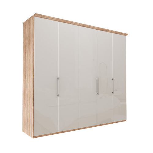 Garderobe Atlanta - Lys rustikk eik 250 cm, 216 cm, Med gesims