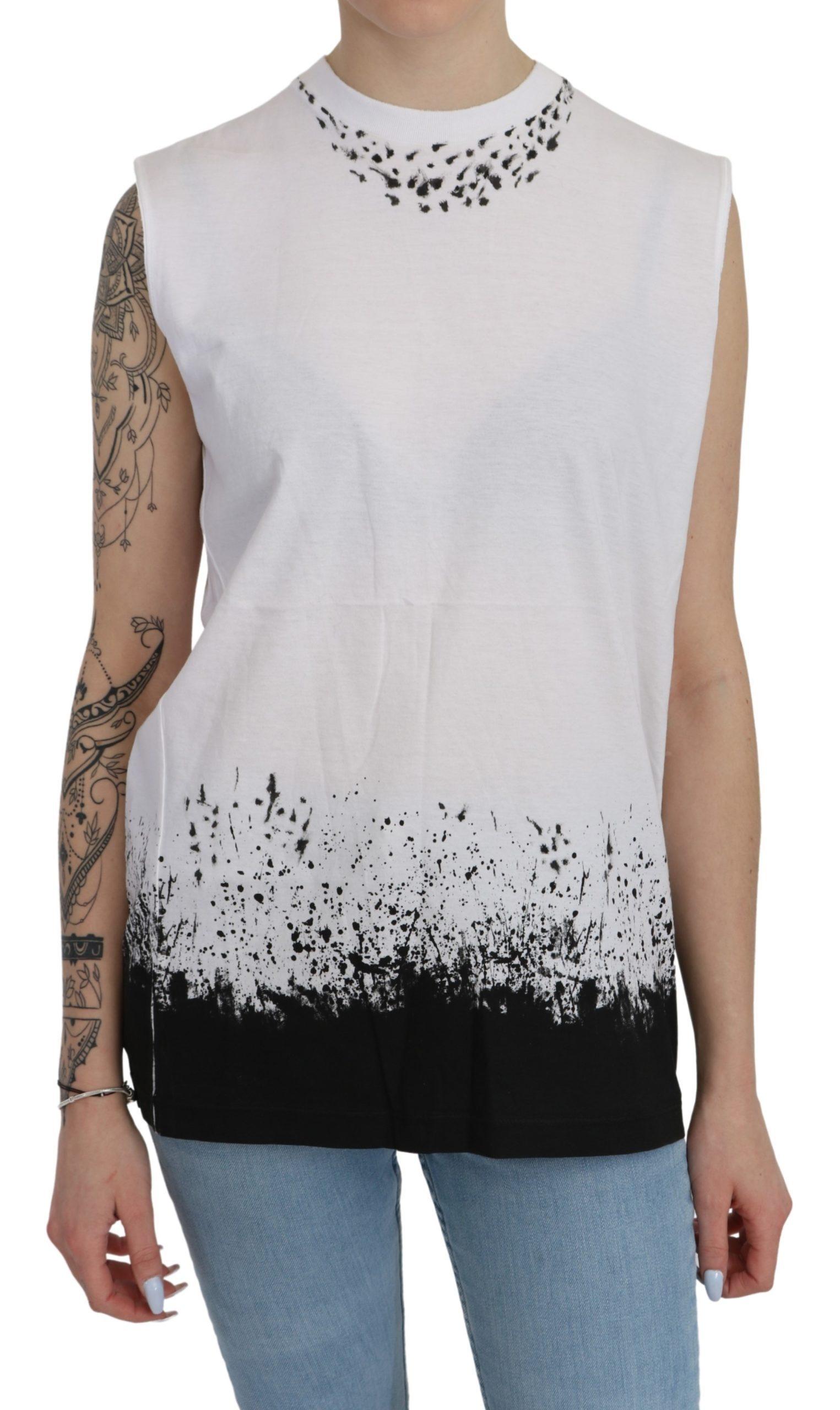 Dsquared² Women's Sleeveless Tank Cotton Top White TSH4333 - IT44|L