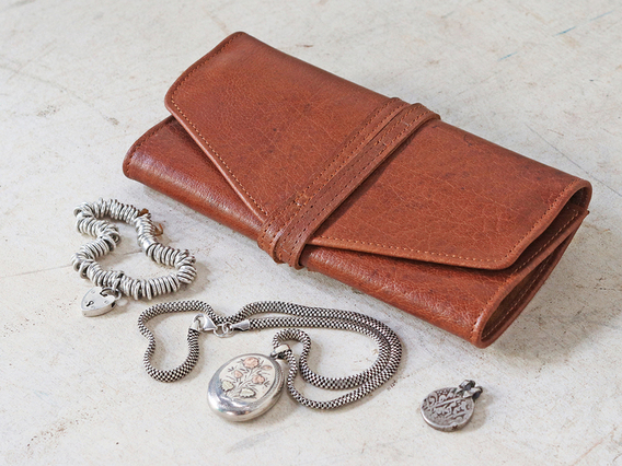 Leather Jewellery Roll Brown