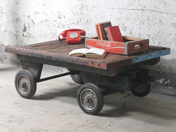 Industrial Trolley Coffee Table Large