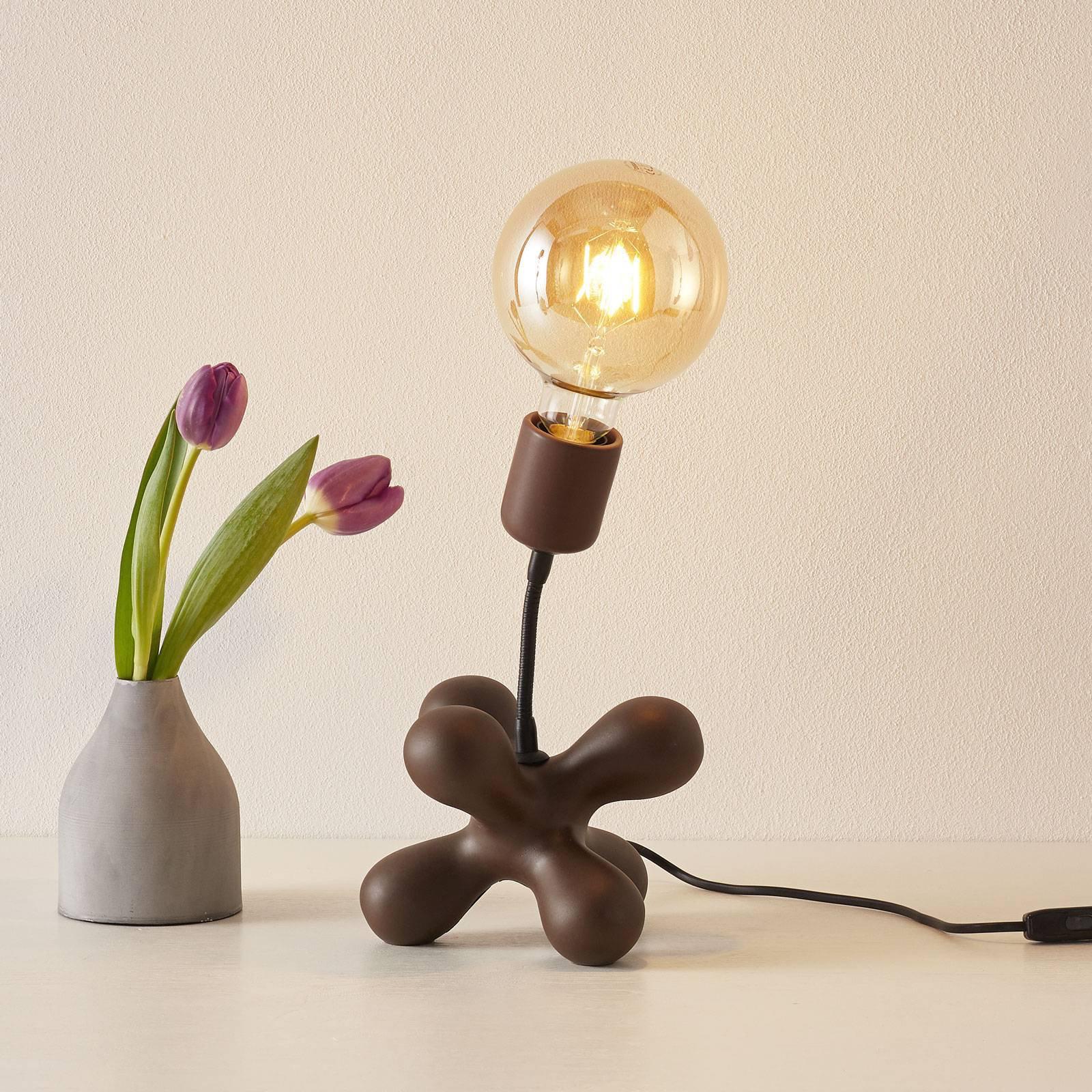Keramisk bordlampe L182 med fleksarm, matt brun