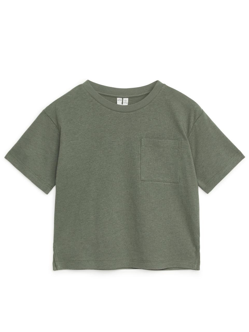 Loose Fit Linnen Blend T-Shirt - Grey