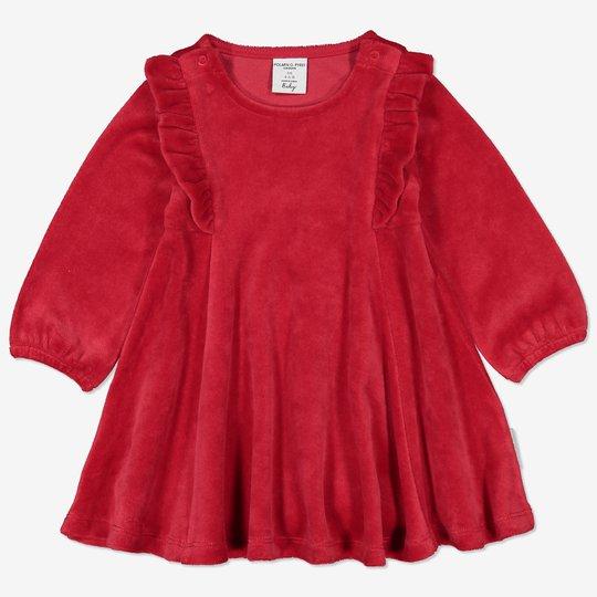 Velurkjole med volang baby rød