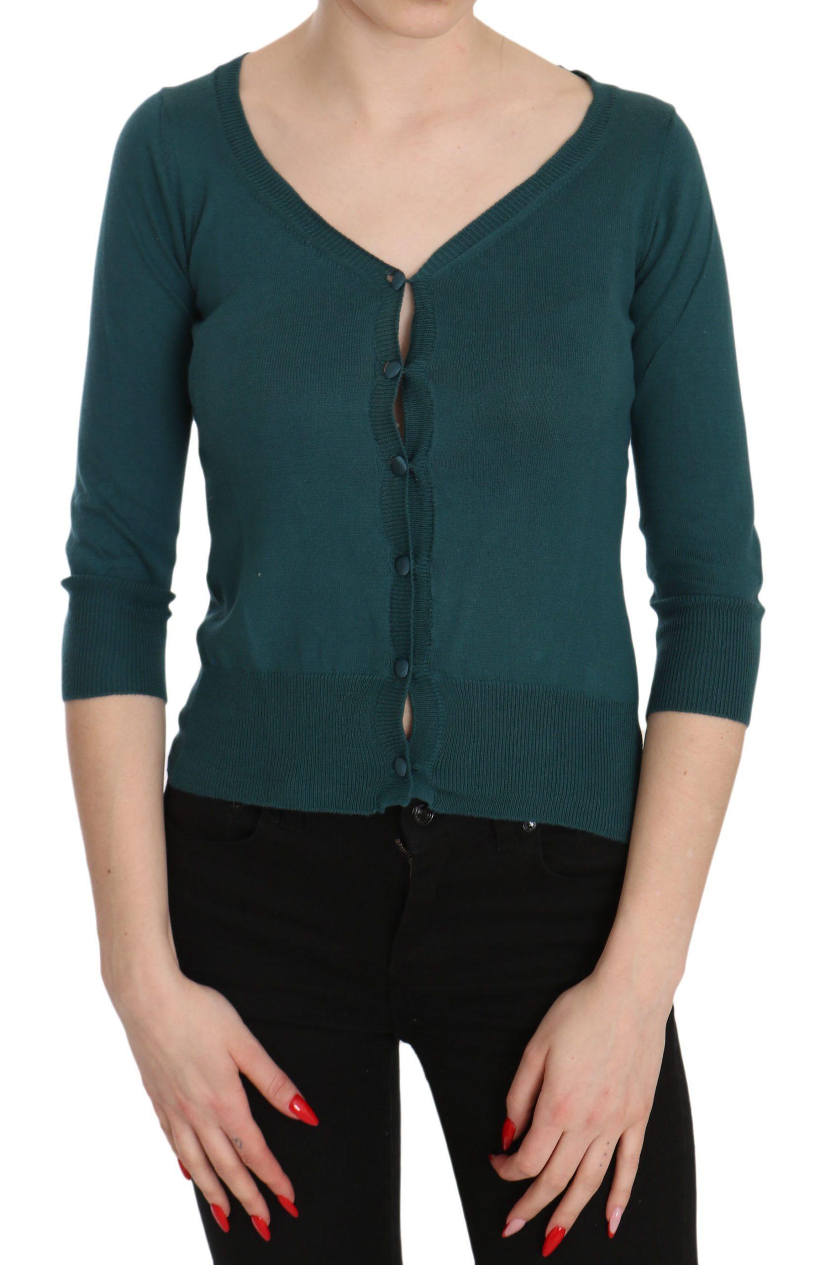 PINK MEMORIES Women's Cotton Sleeve Cardigan Top Blue TSH3459 - IT38|XS