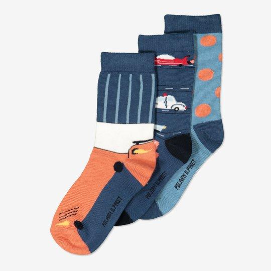 3-pakning sokker blå