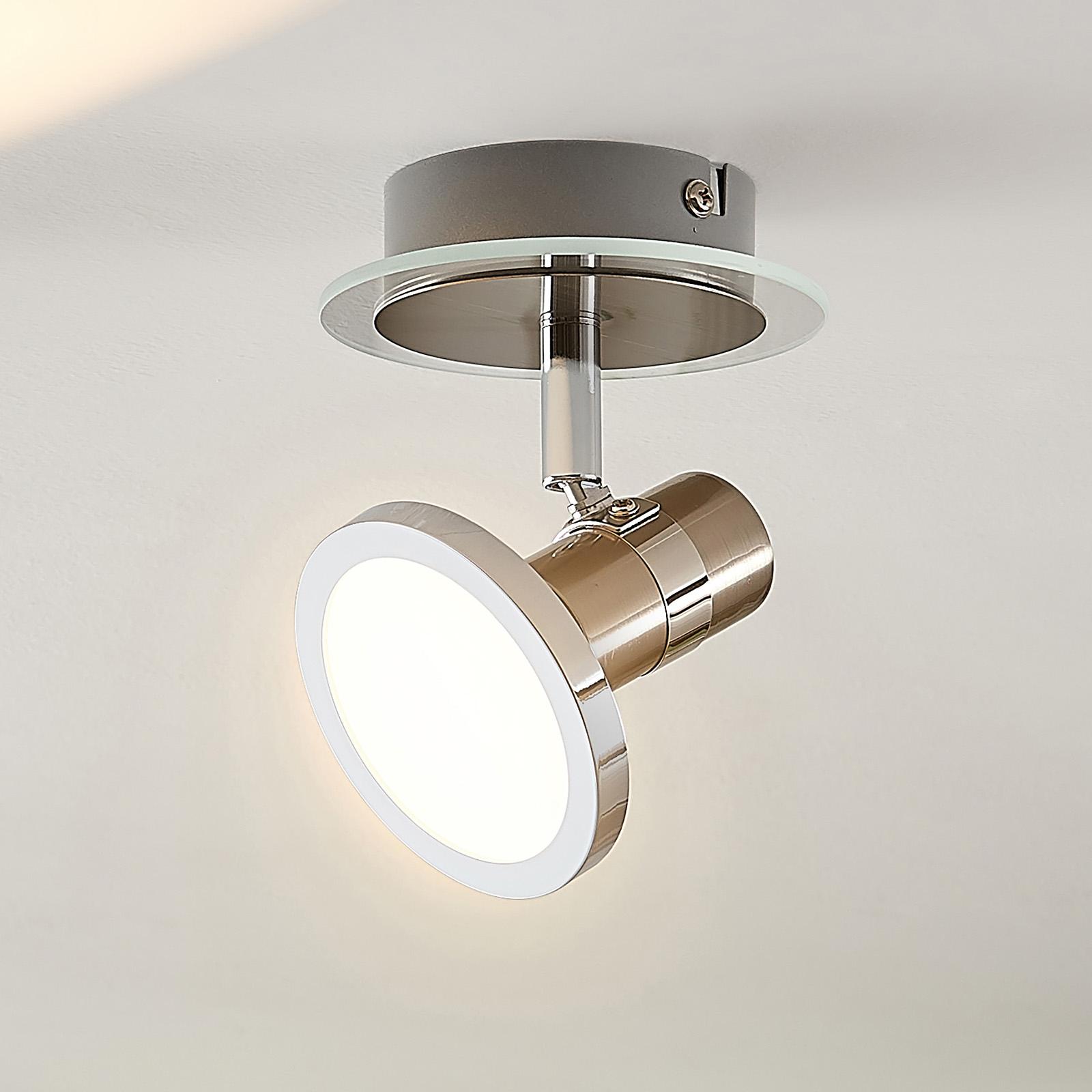 Lindby Kajetan -LED-kohdevalo, nikkeliä, 1-lamp.