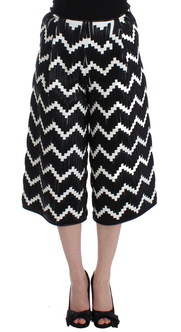 Black White Chevron Nappa Leather Shorts - IT40|S
