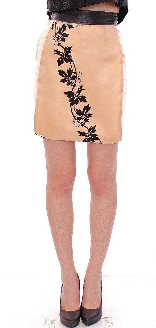 Caterina Gatta Women's Floral Print Silk Mini Skirt Beige GSS10178 - IT40 S