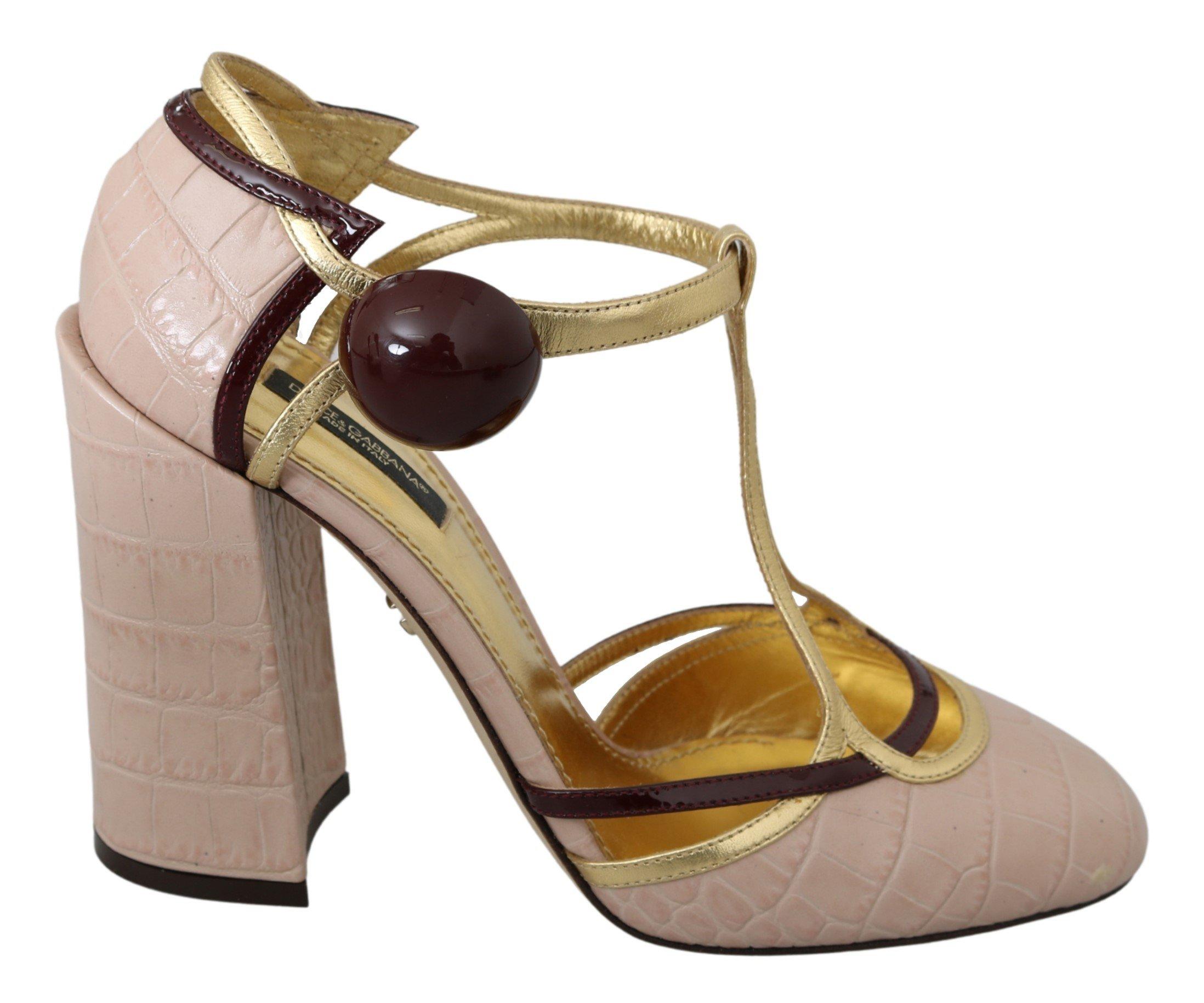 Dolce & Gabbana Women's Ankle Strap Leather Sandal Pink LA6977 - EU39/US8.5