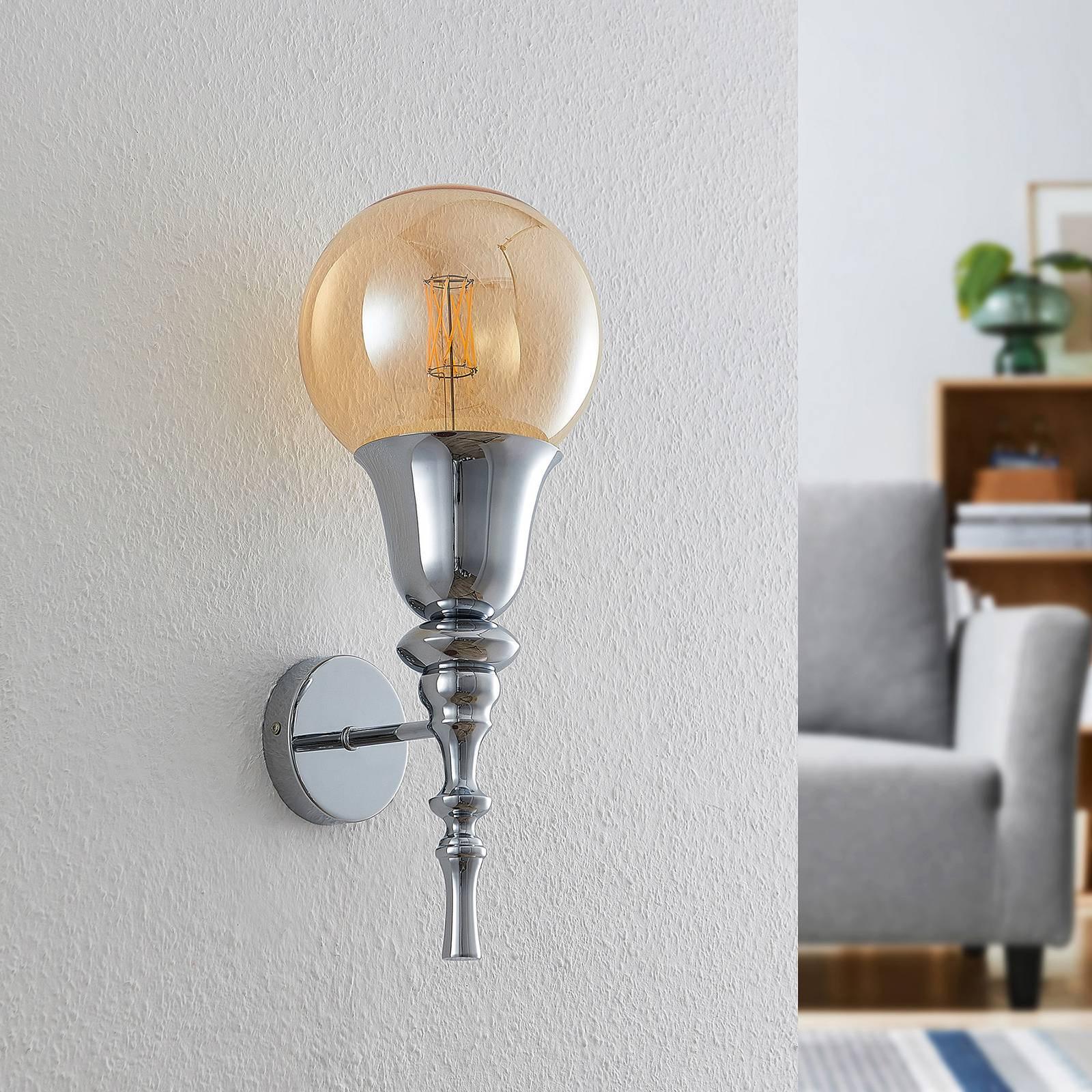 Lucande Gesja -seinävalaisin, 1-lamppuinen, kromi