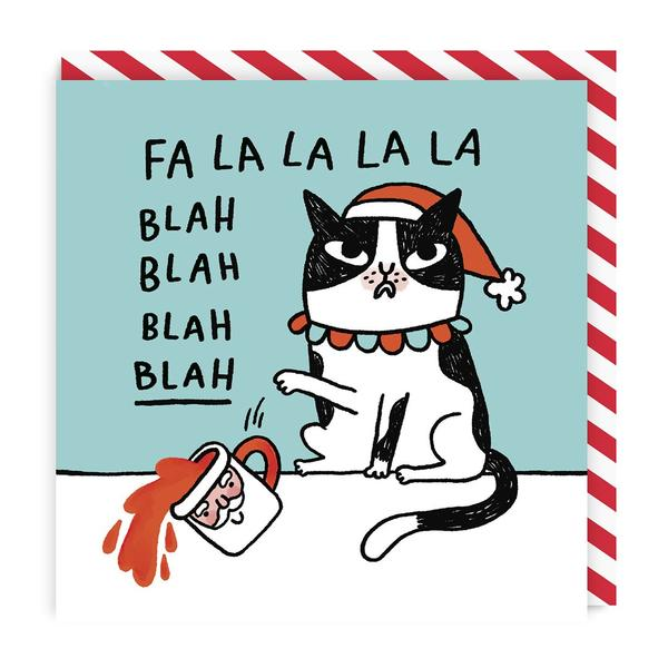 Fa La La La La Blah Cat Square Christmas Card