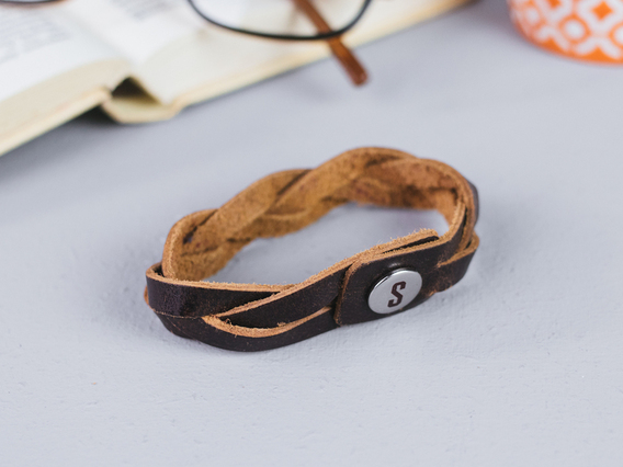 Large Woven Brown Leather Bracelet Brown Large