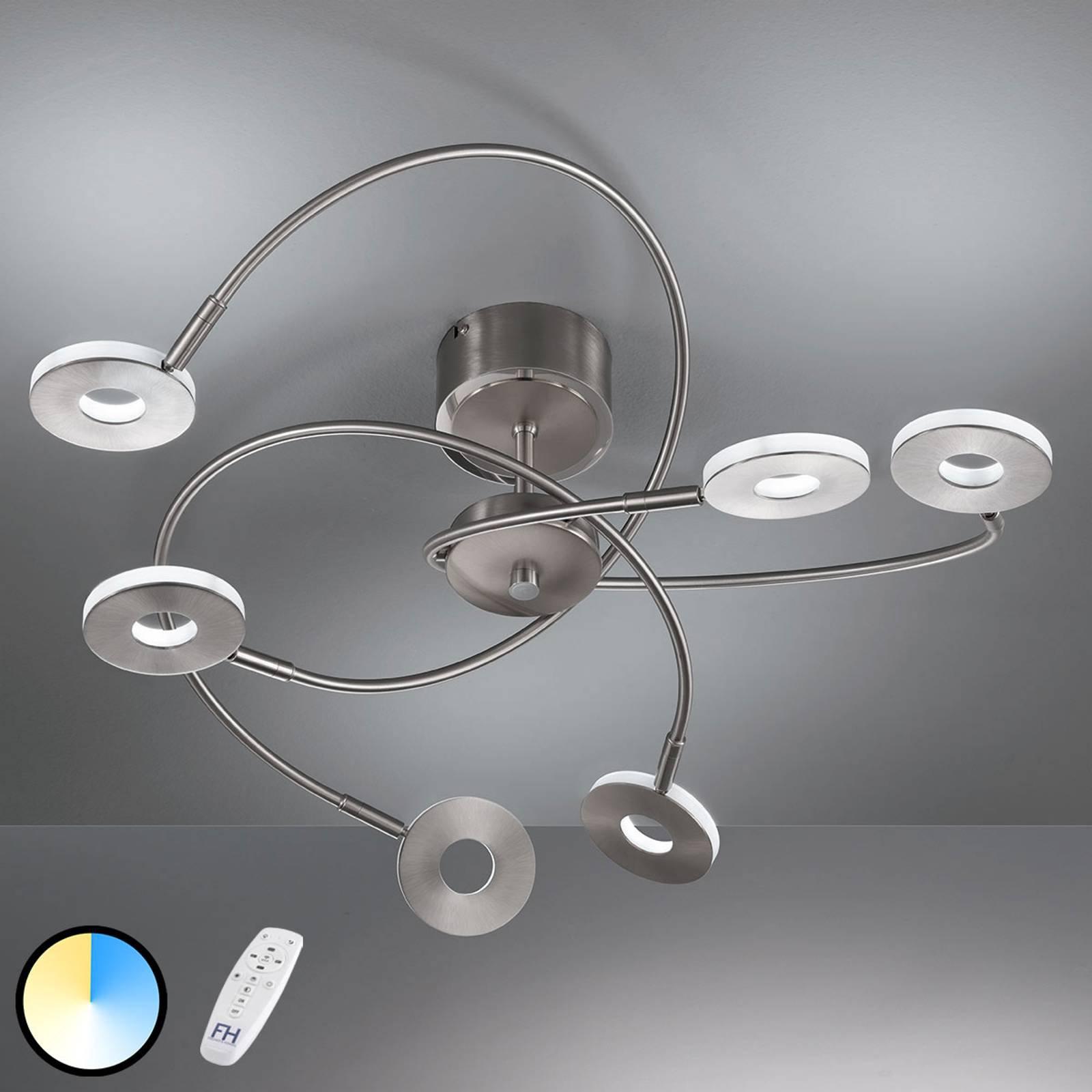 Taklampe Dent, CCT, 6 lyskilder, nikkel