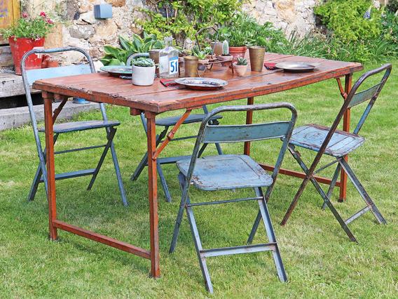 Vintage Metal Folding Table - Red Medium