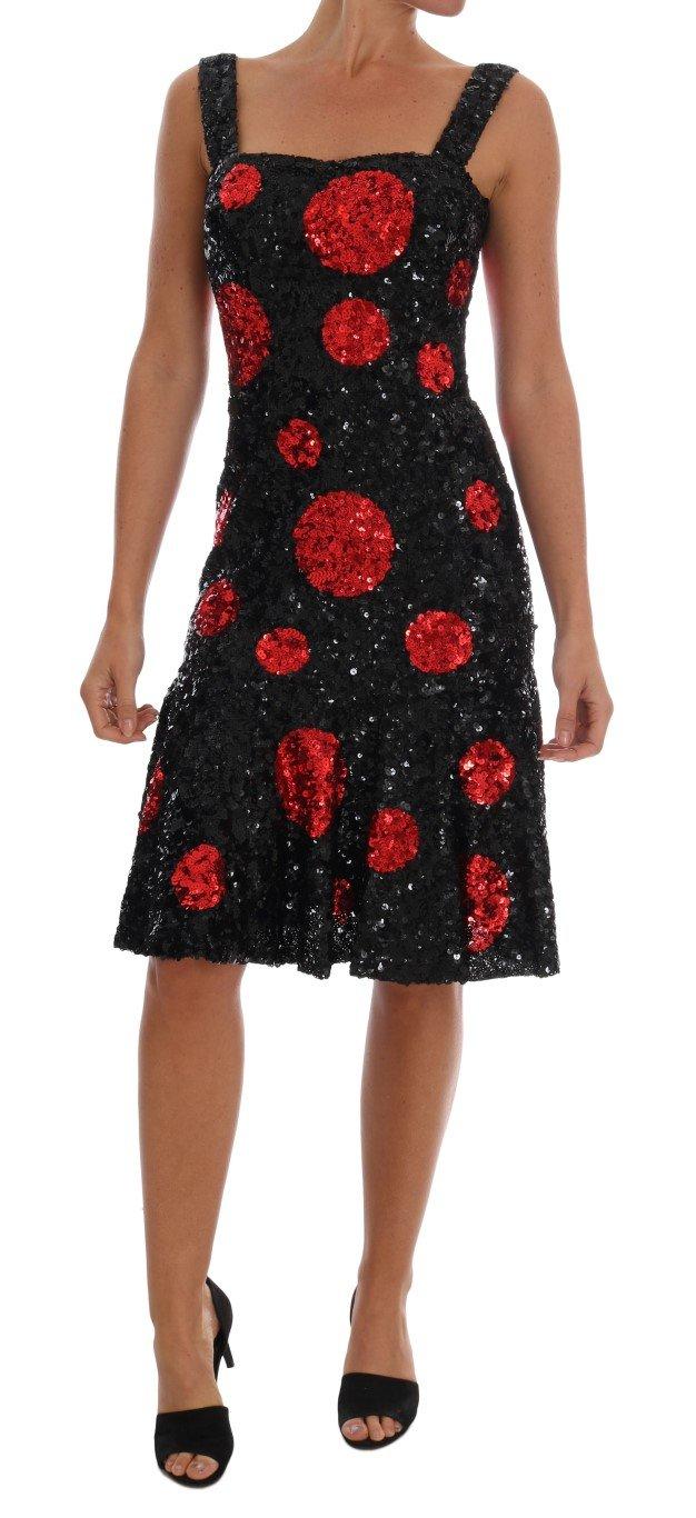 Dolce & Gabbana Women's Polka Sequined Shift Dress Black DR1223 - IT40|S