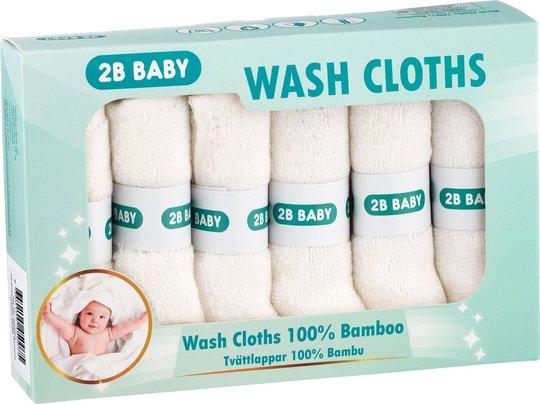 2B Baby Vaskekluter Bambus 6-pack, Hvit