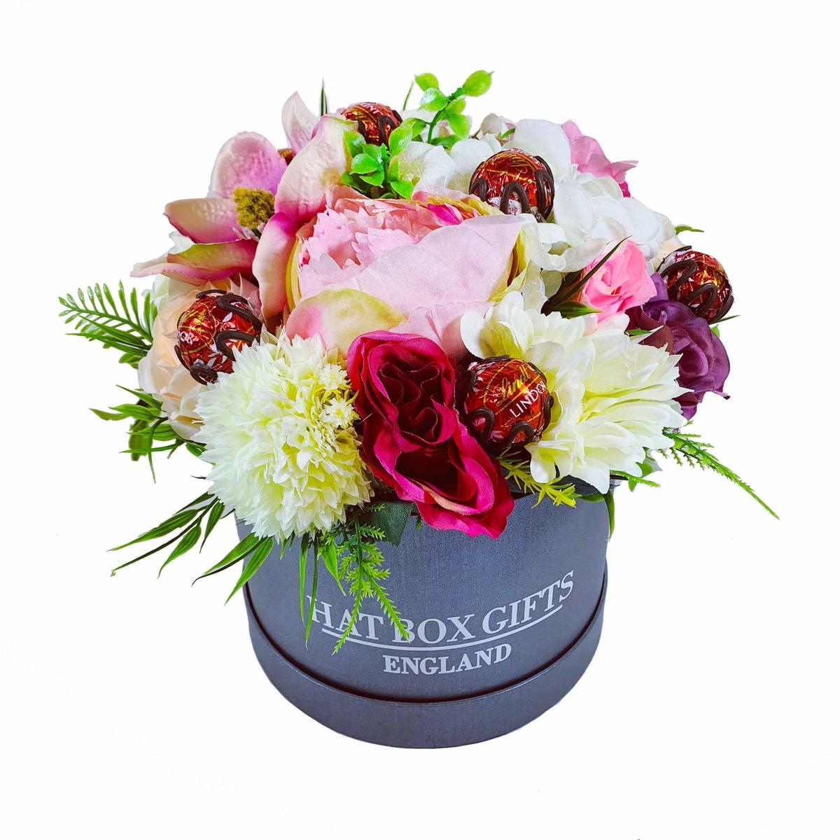 Large Hat Box Floral Display & Chocolates
