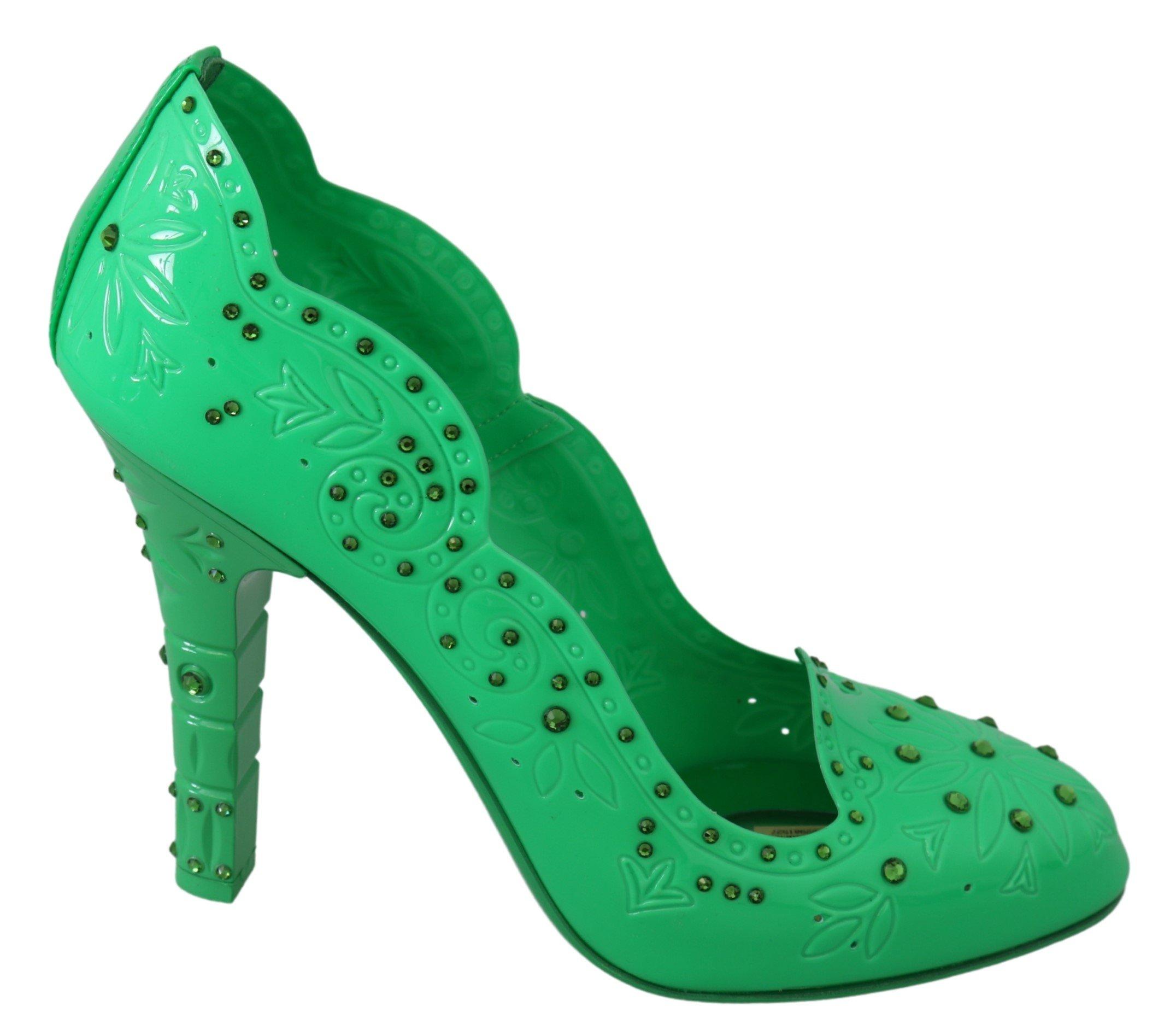 Dolce & Gabbana Women's Crystal Floral CINDERELLA Pumps Green LA7276 - EU39/US8.5