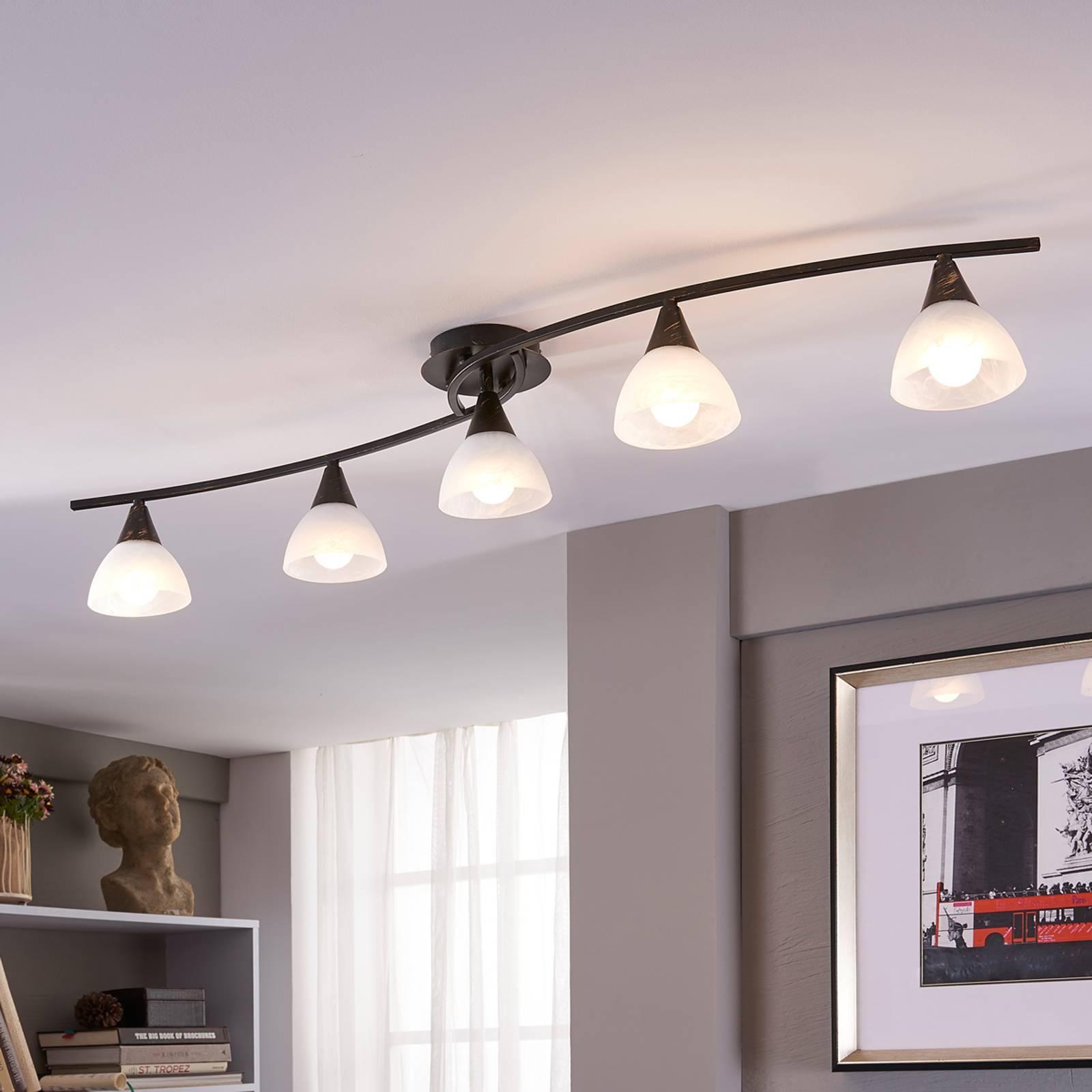 5-lamppuinen LED-kattovalaisin Della, pitkänmall.