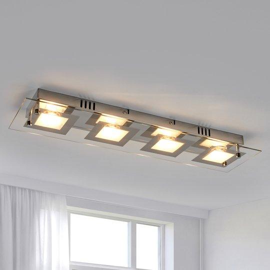 Joustava Manja LED-kattovalaisin, kromipinta