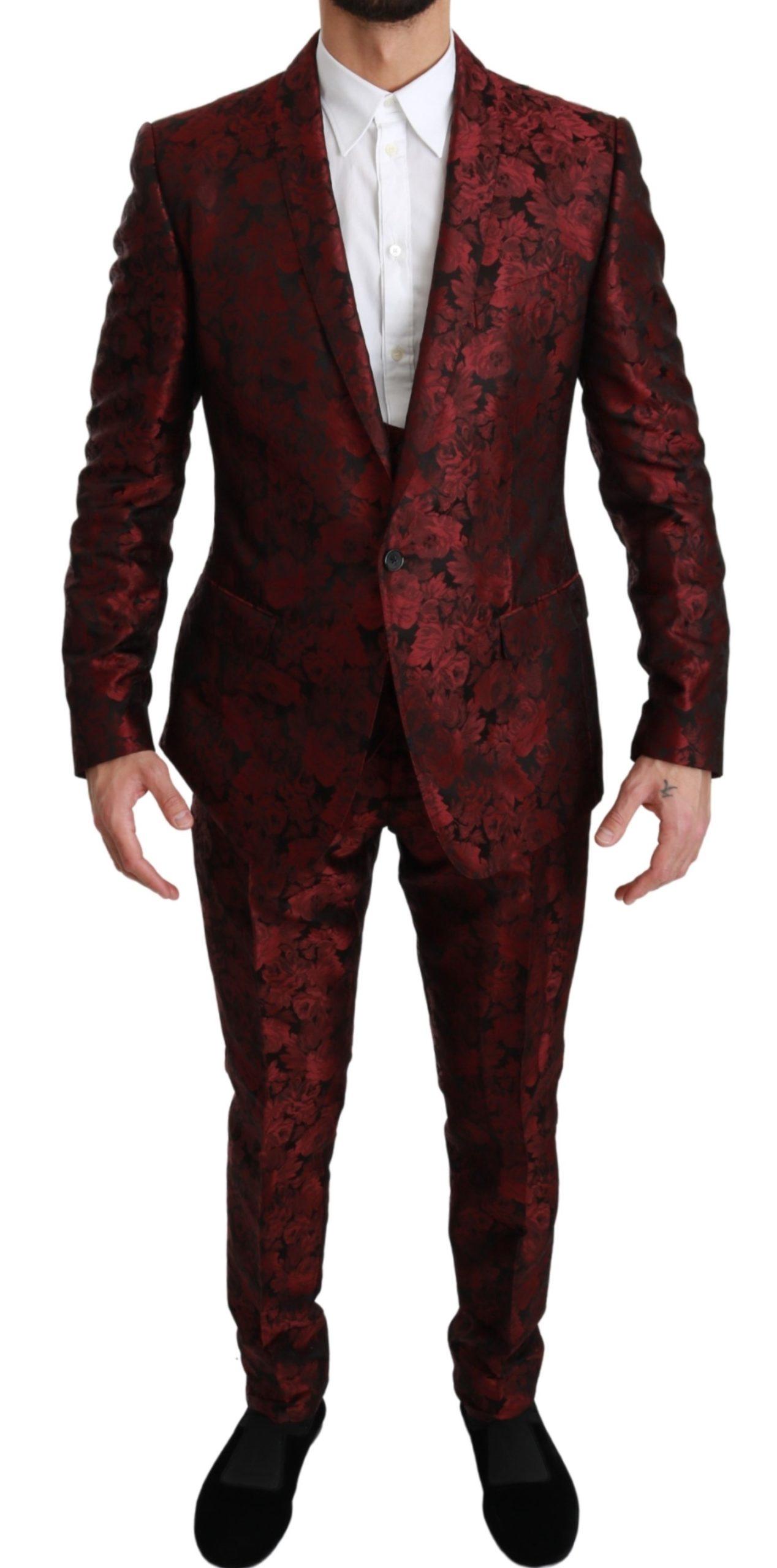 Dolce & Gabbana Men's MARTINI Floral Silk 3 Piece Suit Bordeaux KOS1666 - IT50 | L