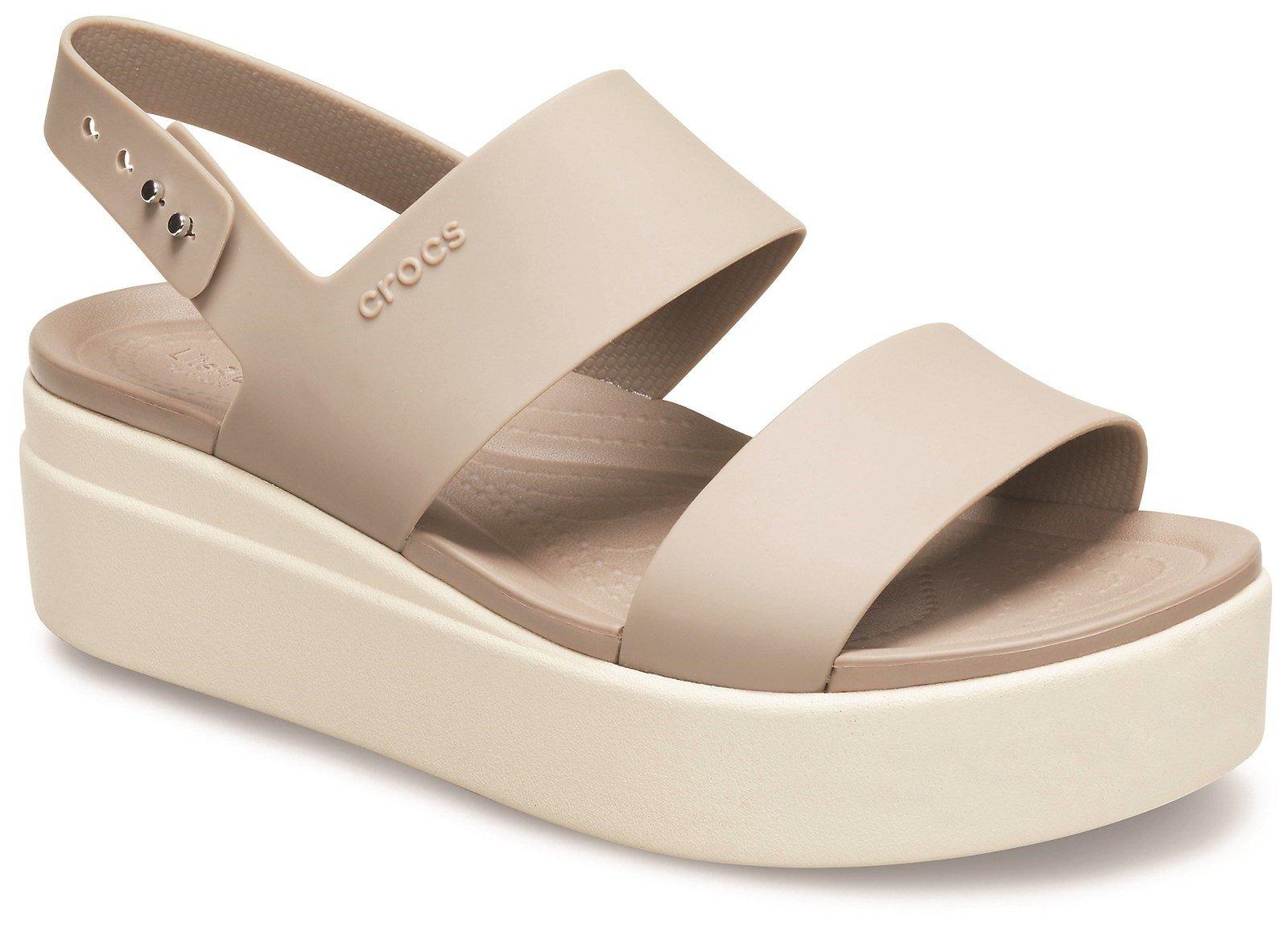 Crocs Women's Brooklyn Low Wedge Platform Sandal Various Colours 31458 - Cream 6