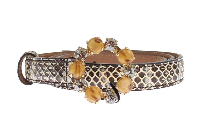 Dolce & Gabbana Women's Snakeskin Crystal Buckle Belt Gray MOM25204 - 65 cm / 26 Inches