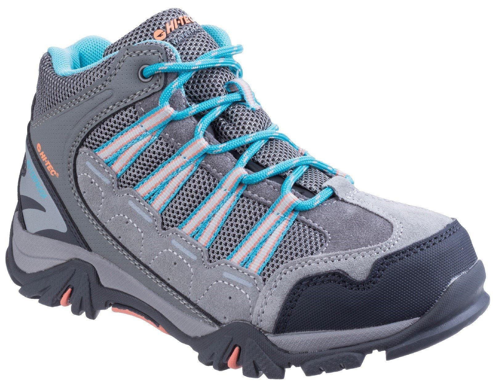 Hi-Tec Unisex Forza Mid Waterproof Hiking Boot Various Colours 25488 - Cool Grey/Blue/Papaya Punch 10