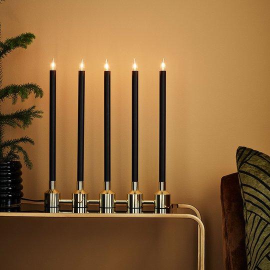 Kynttelikkö Philippa viisilamppuinen, musta/kulta