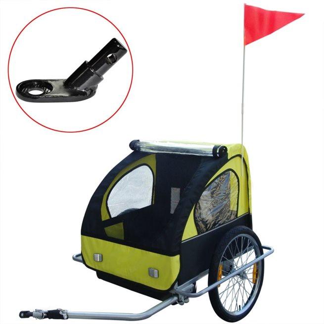 vidaXL Barncykelvagn med extra koppling gul 36 kg