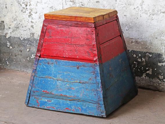 Wooden Vintage Stool - Painted Multi