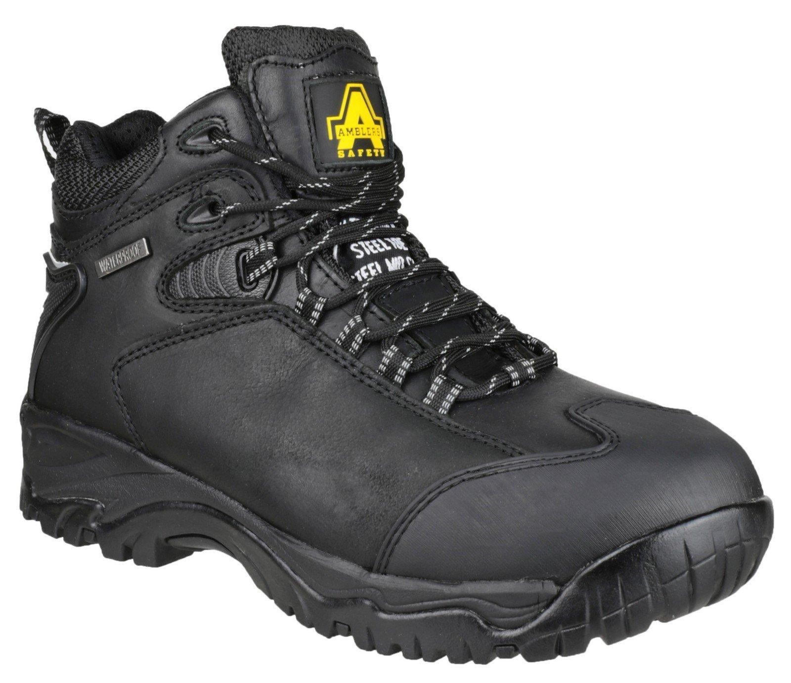 Amblers Unisex Safety Waterproof Lace up Hiker Boot Black 12319 - Black 6