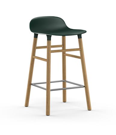 Form Barstol Grønn/Eik 65 cm