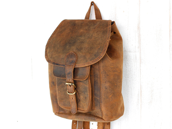 Mens Leather Backpack Mini Brown 8.5 Inch