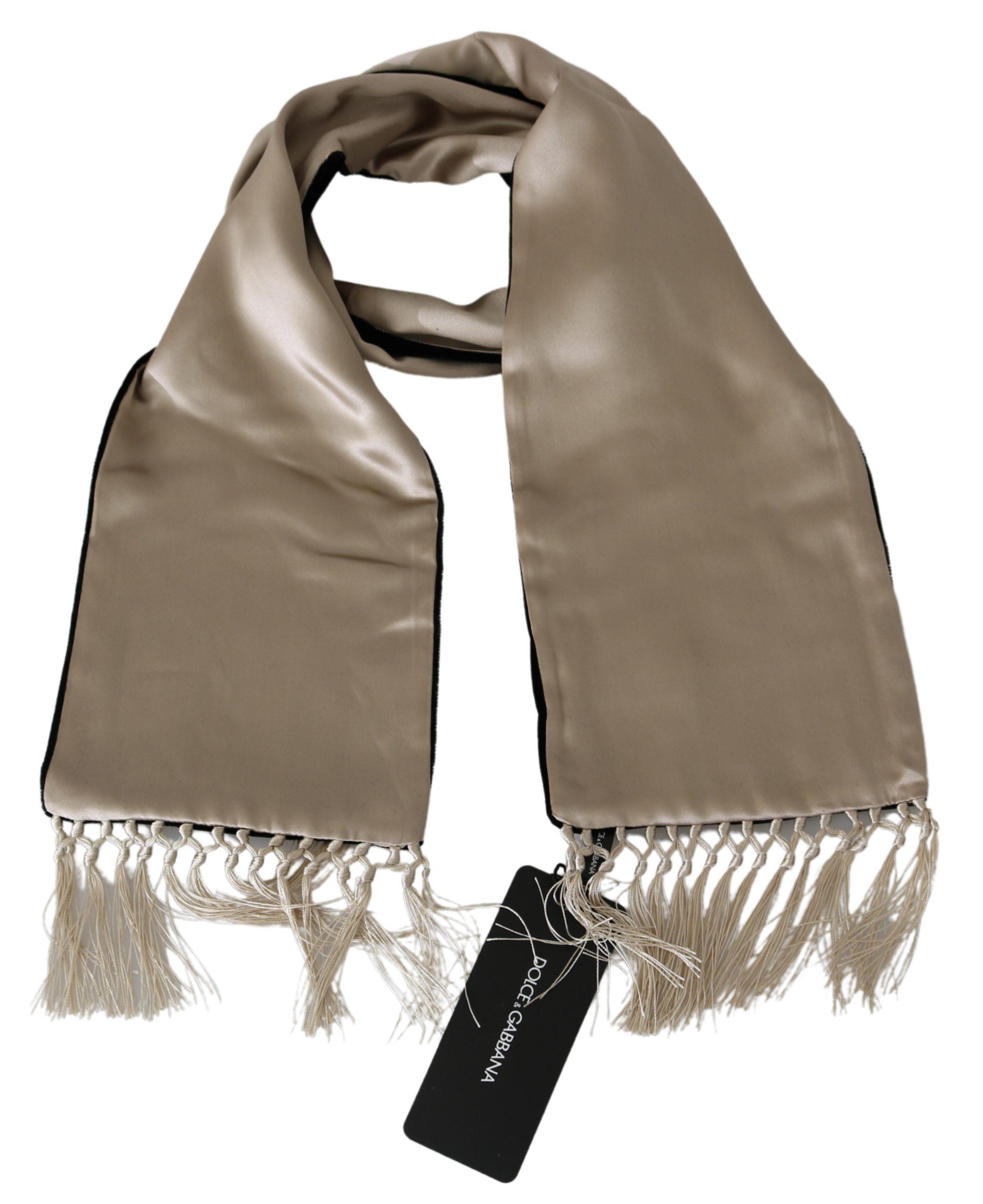 Dolce & Gabbana Men's Silk Silk Scarf Beige MS1776BG