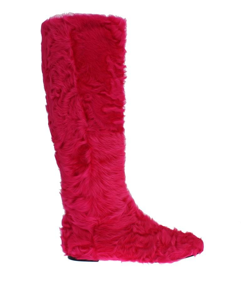 Pink Lamb Fur Leather Flat Boots - EU38/US7.5