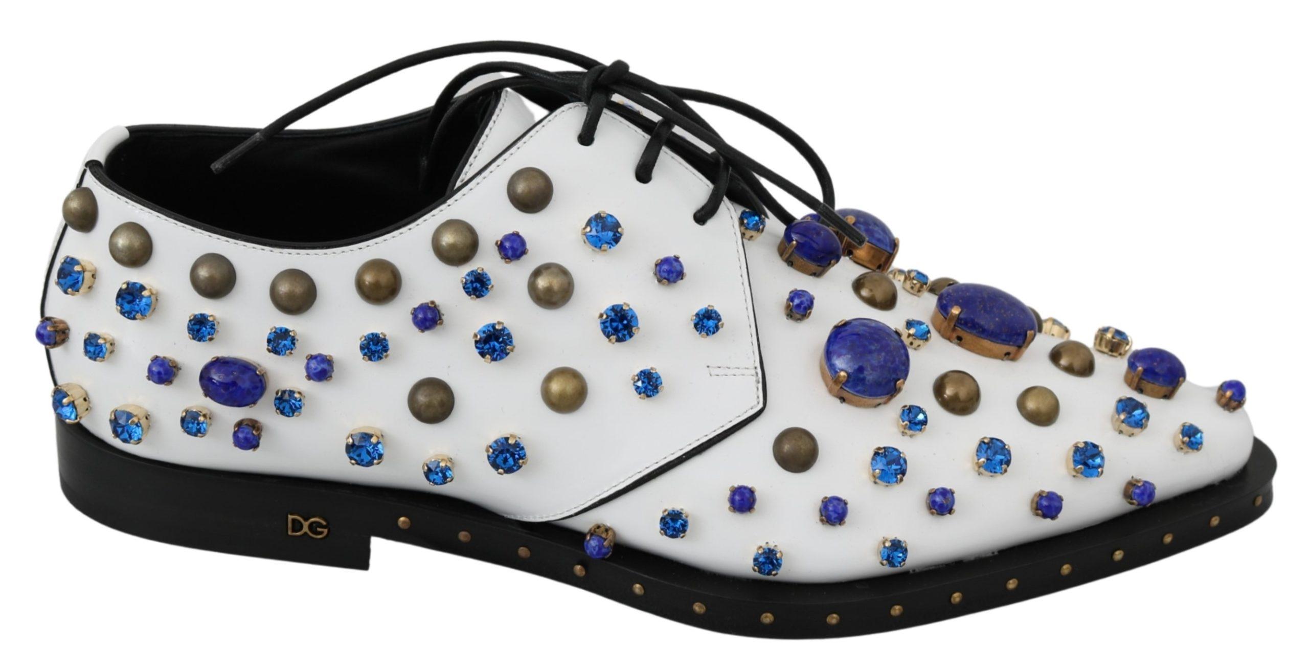 Dolce & Gabbana Women's Leather Crystals Dress Broque Shoe White LA7214 - EU39/US8.5