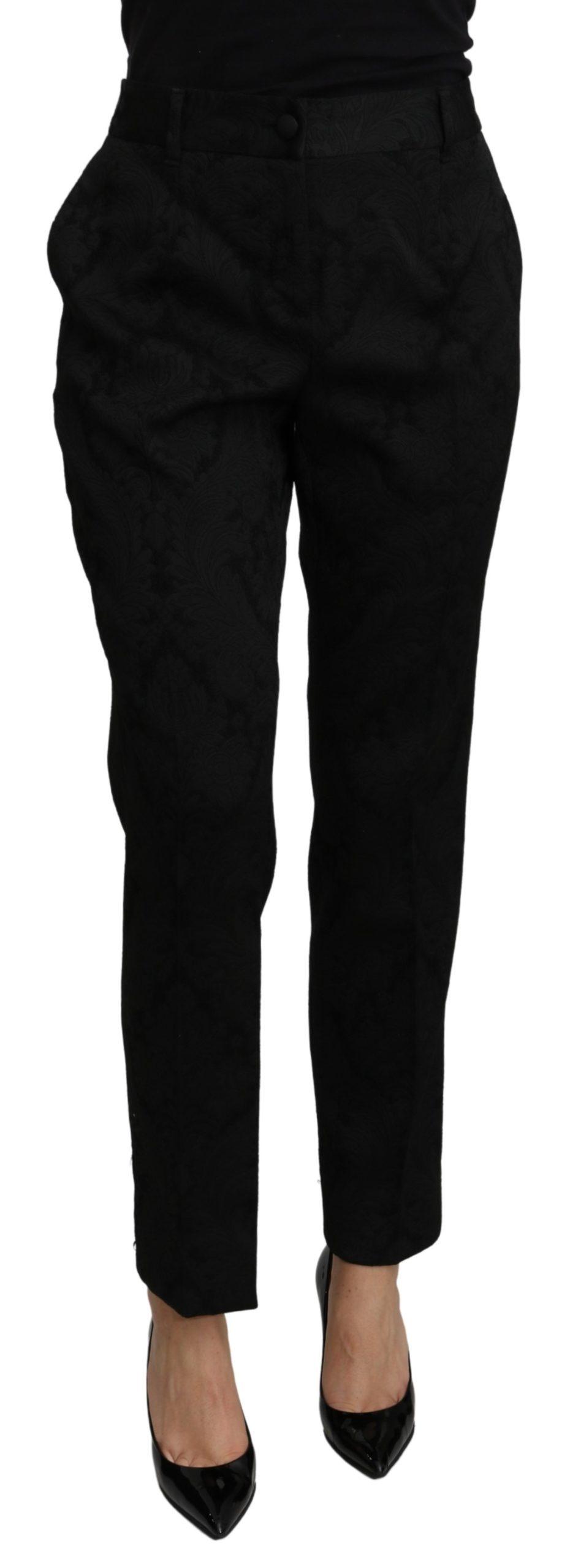 Dolce & Gabbana Women's Floral High Waist Trouser Black PAN71095 - IT44 L