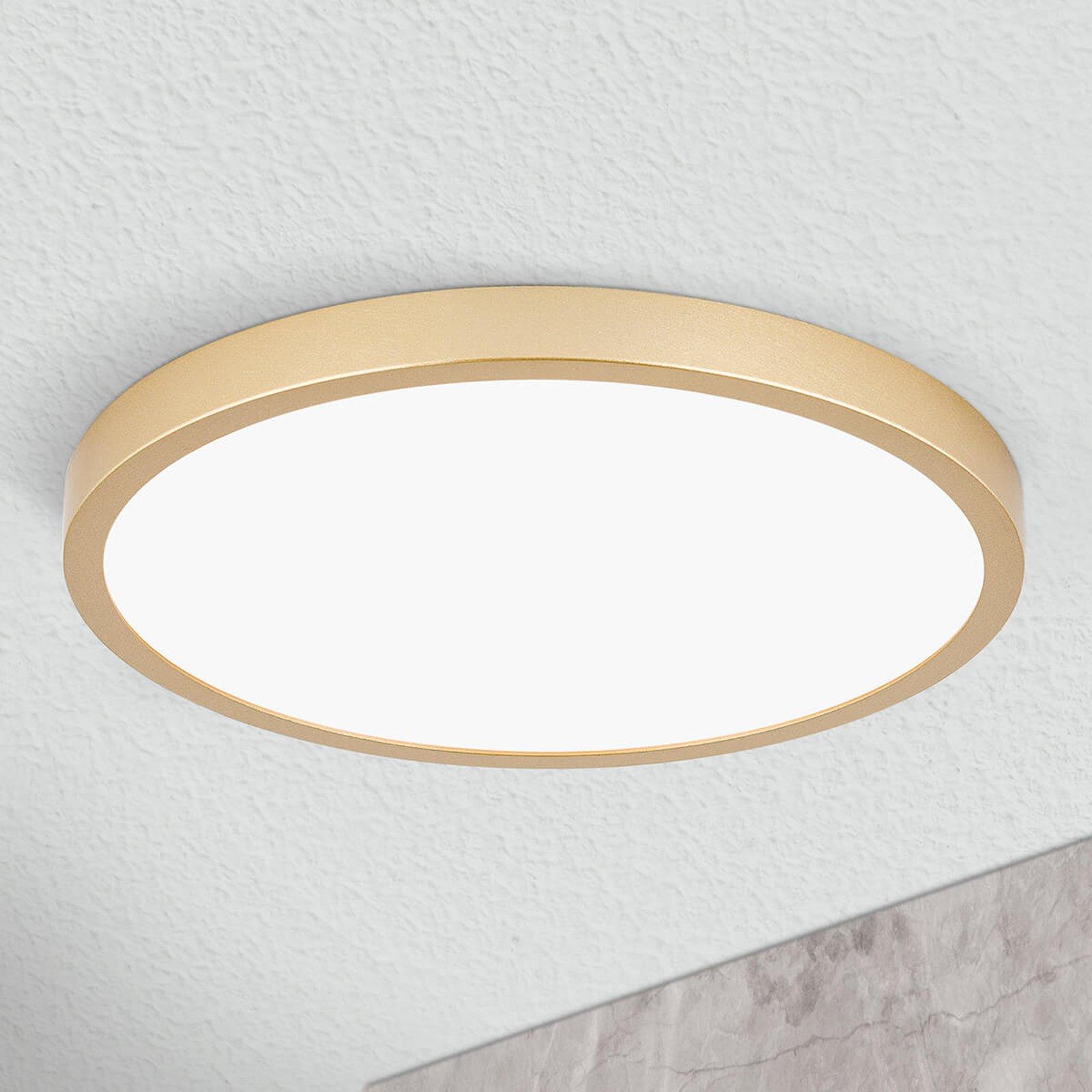 LED-taklampe Vika, rund, gull matt, Ø 30cm