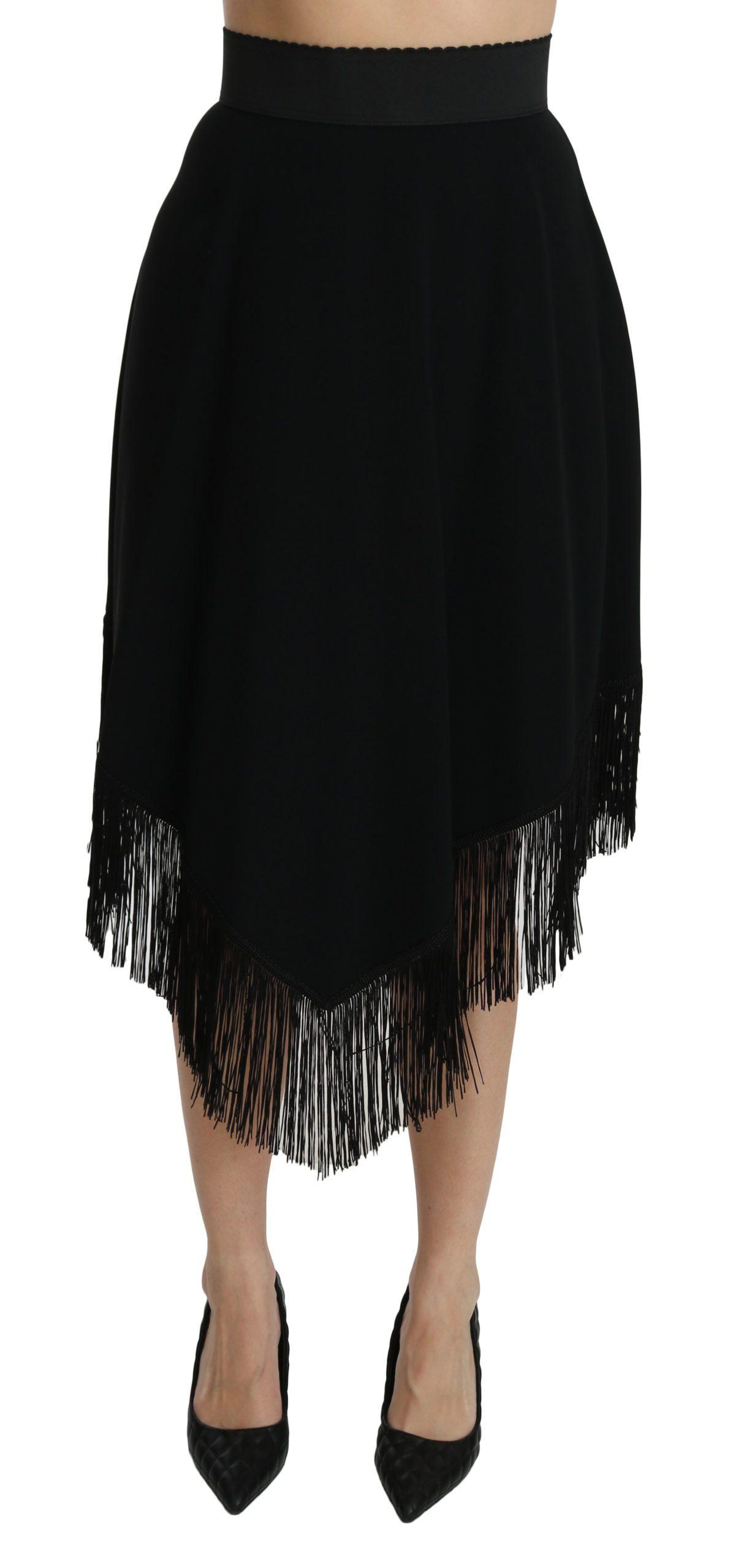 Dolce & Gabbana Women's A-line High Waist Midi Skirt Black SKI1354 - IT46 XL