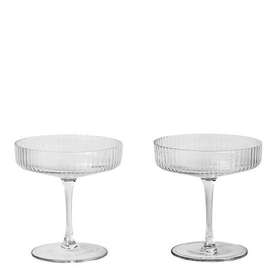 Ferm Living - Ripple Champagneglas 15 cl 2-pack Klar